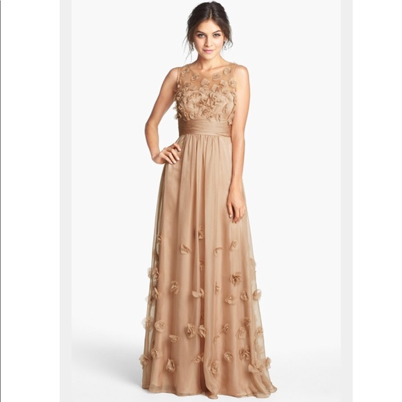 JS Collections Dresses | Floral Appliqu Chiffon Maxi Gown | Poshmark